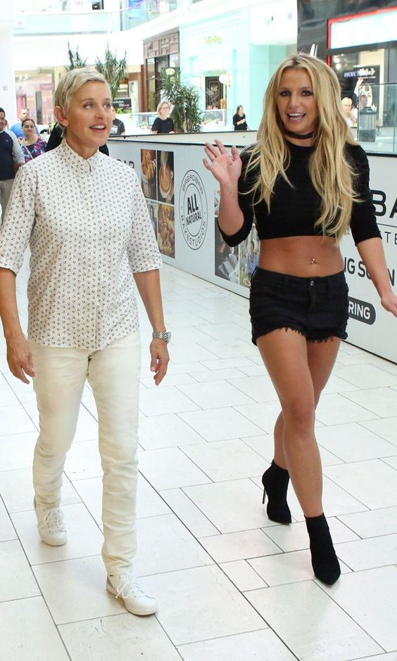 Britney Spears and Ellen DeGeneres Eat Ice Cream in Bed After a Stressful Trip to the Mall