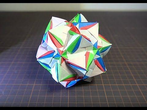 折り紙でくす玉を30枚のくす玉りんどうを折ってみた Youtube ユニット折り紙 折り紙 くす玉
