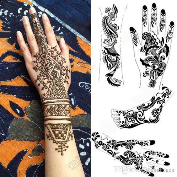 Mehndi Henna Tattoo Schablone Menge Großer Schwarzer Henna Tätowierung Für Körper Malen, Template Temporary Tattoo
