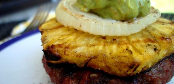 Grilled Pineapple Burgers with Spicy Avocado Cream