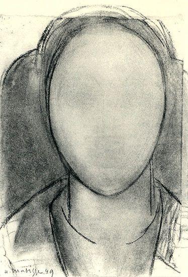 """Desenho a carvão sobre papel de Henri Matisse (1949). """"Face Claudie""""."""