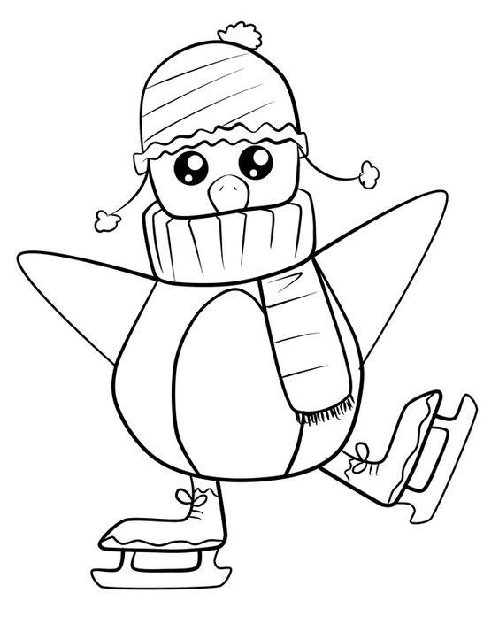 Baby Penguin Skating Coloring Page