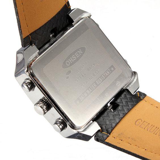 Men's Leather Army Waterproof Alarm Date Quartz Sport Watch