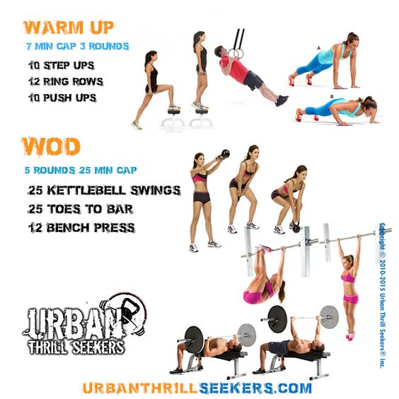 Best 25 Bench Press Workout Ideas On Pinterest: 25 Kettlebell Swings, 25 Knees-to-elbows, 12 Bench Press