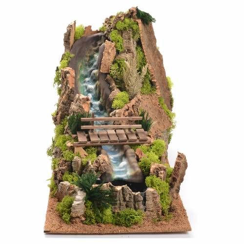 Cascata con fiume presepe 35x25x54 cm s1 | Waterfall fountain