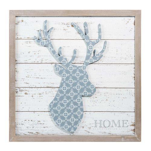 tableau cerf en bois gris snow | maisons du monde | atoutmousse