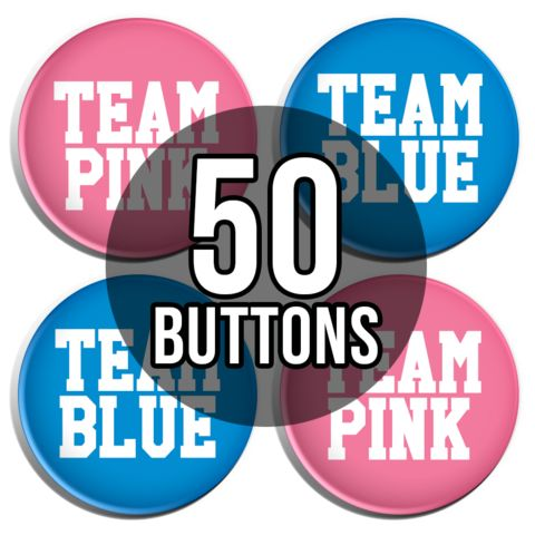 Team Pink & Team Blue Sporty Gender Reveal Baby Shower Button Badges - 50 Pack