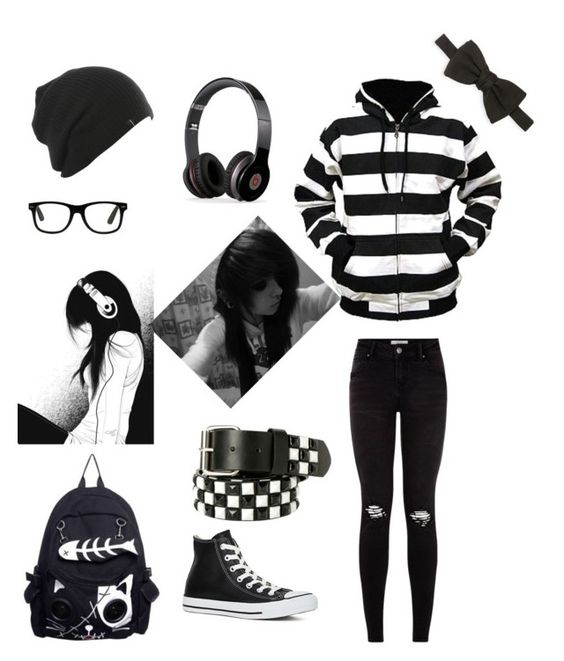 """emo black"" by dolphinloverd ❤ liked on Polyvore"