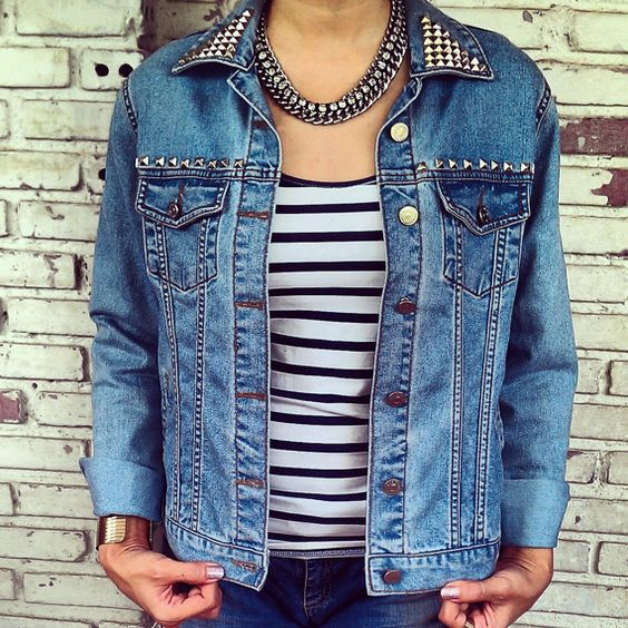Vintage Hand Studded Jean Jacket / Reworked Denim Jacket Size: L