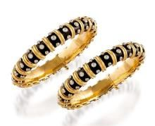 Two 18ct gold, diamond and enamel bangles, Jean Schlumberger for Tiffany & Co.
