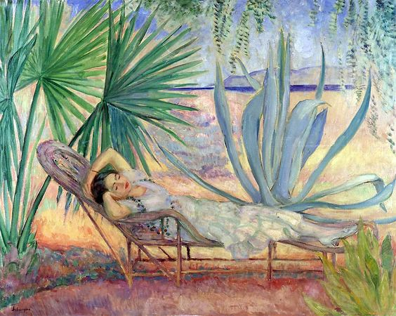 'Maiden resting in the garden', Oil On Canvas by Henri Lebasque (1865-1937, France)