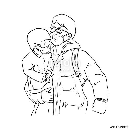 Father And Son Wearing Medical Mask Vector Illustration Sketch