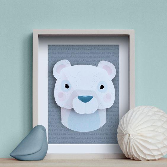 kit troph e animal en papier loup animaux papier et ours. Black Bedroom Furniture Sets. Home Design Ideas