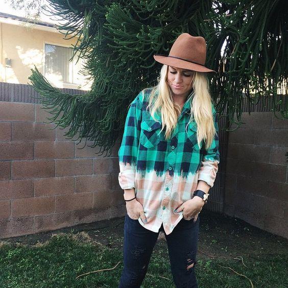 DIY Bleached Flannel | Camel Fedora |Fashion Blogger