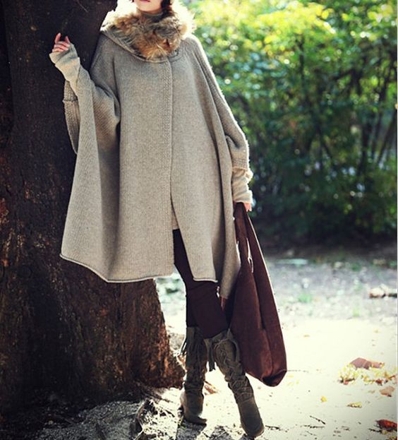 Women  apricot cape Coat winter coat Autumn Woman Wool Long Knitted Coat Sweater  cloth coat Hooded Cape/clothing /jacket  M-L on Etsy, 57,39€