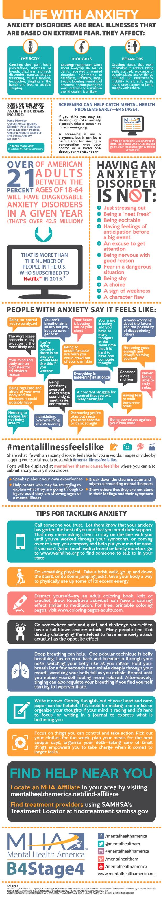 For #MHMonth2016, @MentalHealthAm created an excellent infographic on #Anxiety. #MentalHealthMatters