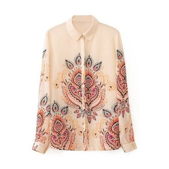Tribal Print Lapel Single Breasted Long Sleeve Shirt (€16) ❤ liked on Polyvore featuring tops, lapel shirt, shirts & tops, long sleeve shirts, tribal shirt and long sleeve tops