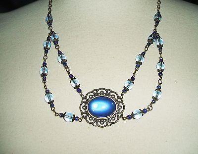 Renaissance Necklace Blue Glass Victorian Filigree Art Deco Nouveau Festoon--the festoon...