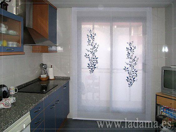 Estor de cocina azul cortinas para cocina visillos y for Visillos estores para salon