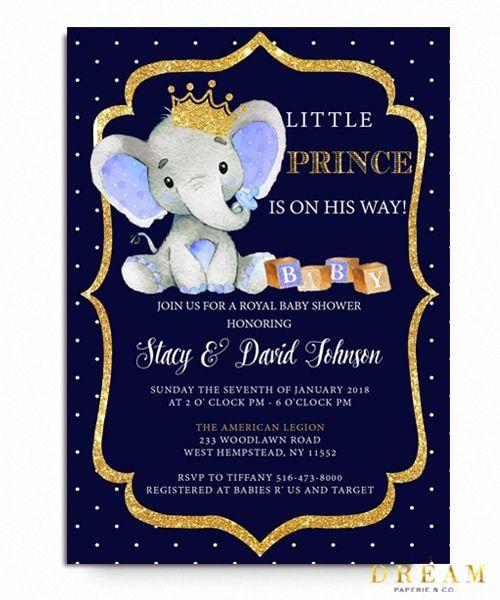 Little Prince Elephant Baby Shower Invitation Royal Baby Prince