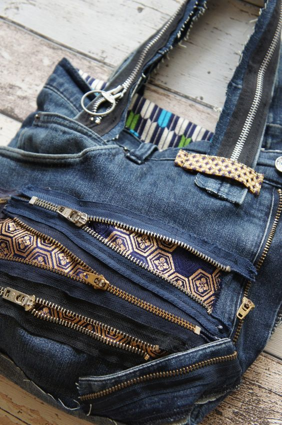 Recycled denim and zips, mixed with Japanese fabric bag.: