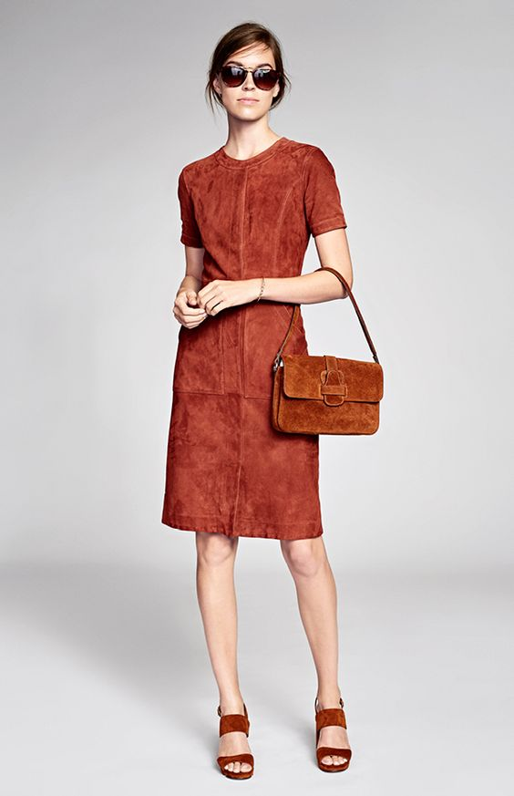 NYFW Spring 2017 collection. Keep your look chic in our retro inspired short sleeve auburn suede dress | Banana Republic