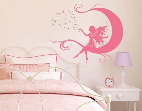 Wandtattoo Feenstaub #Fee #Mond #Sterne #Kinderzimmer #Wandtattoo