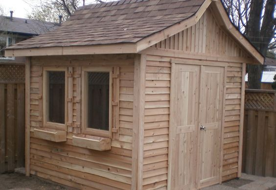 8ft x 8ft Shanghai style shed with cedar siding by Flamborough Patio