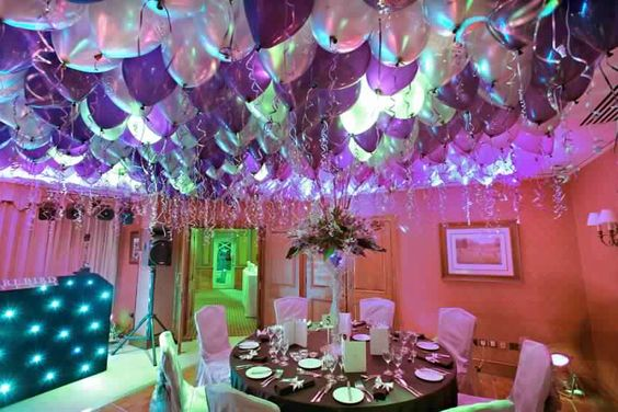 A purple and white birthday party.