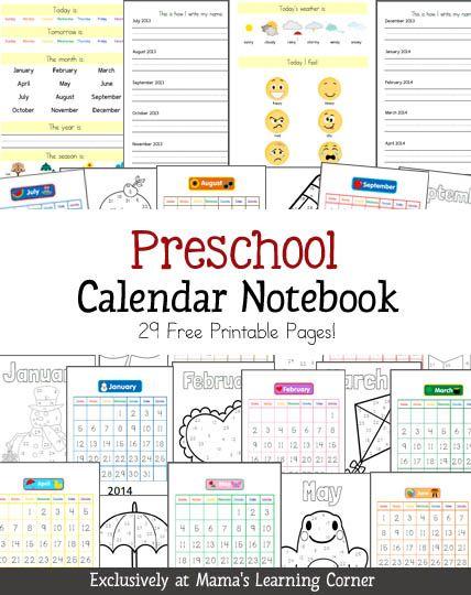 Printable Calendar Dates Kindergarten : Preschool calendar notebook morning meetings notebooks