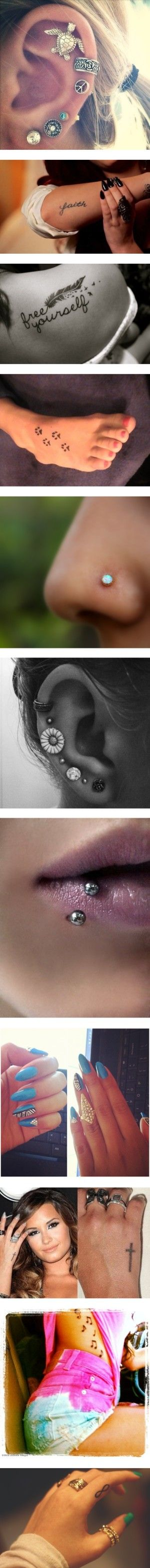 """Tattoos And Piercings That Are Nice"" by m-o-n-k-e-y ❤ liked on Polyvore"