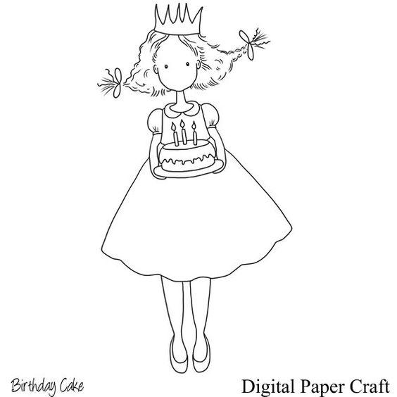 Girl with Birthday Cake Digital Stamp Instant Download Comes Black and white Lineart in png and jpg  Each Item are saved separately and saved