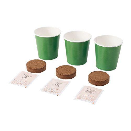 ÖRTIG Hierbas de cocina variadas IKEA Contiene todo lo necesario para cultivar 3 hierbas distintas.