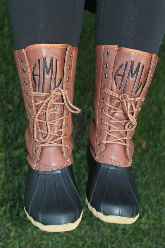 Monogrammed Duck Boots Two Tone Black Brown By