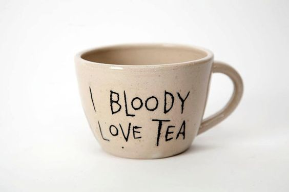 I Bloody Love Tea handthrown mug. by AliceMaplesdenPots on Etsy