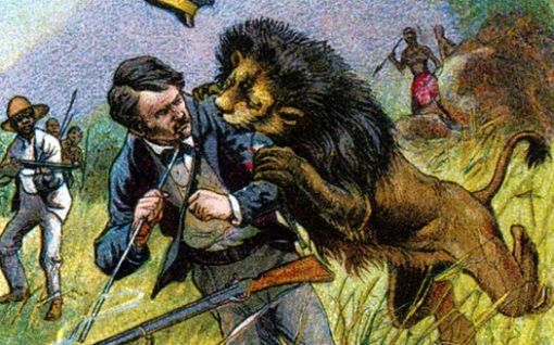 David Livingstone and the Lion, a magic lantern slide published by - doctor livingstone i presume