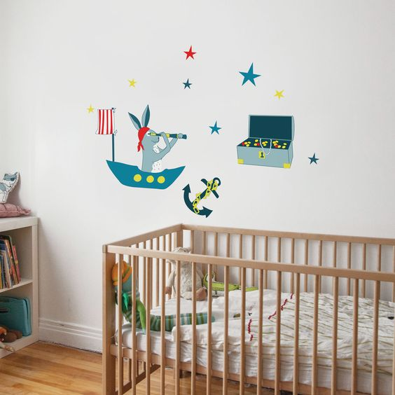 Frankie the Pirate Hare - kid wall decal. $27.00, via Etsy.