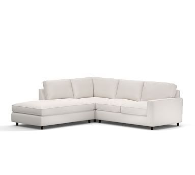 PB Comfort Square Arm Upholstered Right 3-Piece Bumper Sectional, Box Edge Polyester Wrapped Cushions, Organic Cotton Twill Ivory