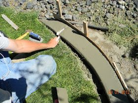 DIY Concrete Landscape Edging Tutorial - So cheap & easy. Maybe try around fence edge to keep the dogs from digging out?