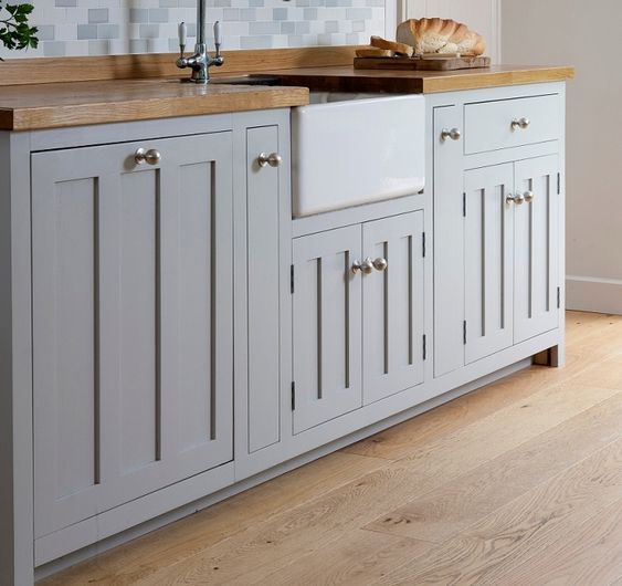 Grey Kitchen Cabinets With Butcher Block Countertops