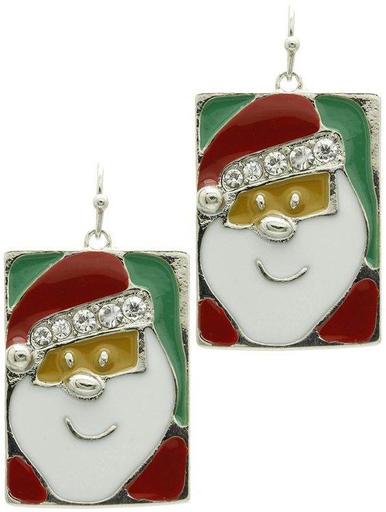 Earring Epoxy Coated Metal Santa Christmas Holidays Pave Crystal Stone Fish Hook 1 2/3 Inch Drop /