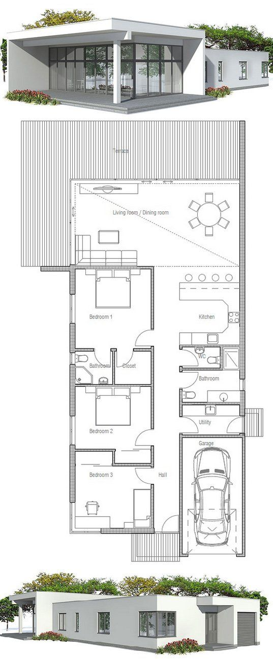 Narrow house plan with three bedrooms floor plan from for Apartment home plans for narrow lots
