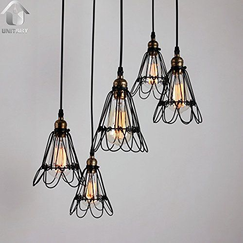 UNITARY BRAND Black Vintage Metal Cage Shade Hanging Ceiling Chandelier Max. 300W With 5 Lights Painted Finish Unitary http://www.amazon.com/dp/B010B6LR9A/ref=cm_sw_r_pi_dp_25.Rvb17FR8W1