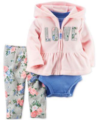 Carter's Baby Microfleece Girls' 3-Pc. Love Peplum Hoodie, Bodysuit &…