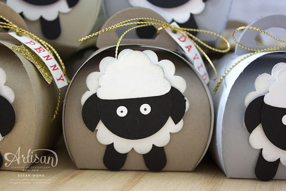 """Curvy Keepsake Christmas Sheep ~ Susan Wong, To make yours you'll need the following punches: 1 3/4"""" Scallop Circle Cupcake Builder 1 1/4"""" Circle 3/4"""" Circle Word Window We also sponged a bit of Smoky Slate around any white edges. Tip Top Taupe, Crumb Cake, Sahara Sand and Smoky Slate for the base colours"""