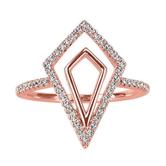 Rose Gold Diamond Geometric Ring