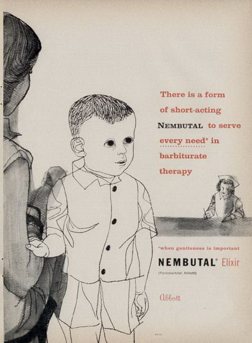 """Nembutal, the retro-Ritalin.  The kid in this ad is just plain creepy.  He sends """"chills"""" down my spine."""
