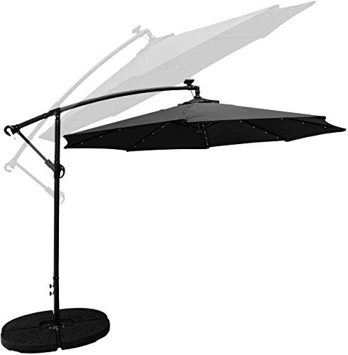 Yxzq 10ft Solar Led Offset Hanging Patio Umbrella Easy Tilt Adjustment Waterproof Sun Protect In 2020 Patio Umbrella Patio Red Patio