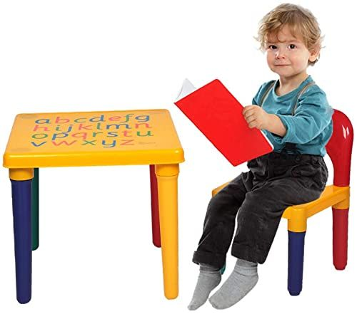 Shop For Kids Alphabet Table Chair Set Plastic Children Table Chair Yellow Red Toddler Activity Reading Train Art Play Room Learn The Letters While Playing Gift Toddler Boys Girls Online In 2020