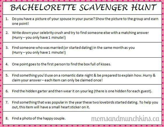 Bachelorette Scavenger Hunt   Bachelorette games, For her ...